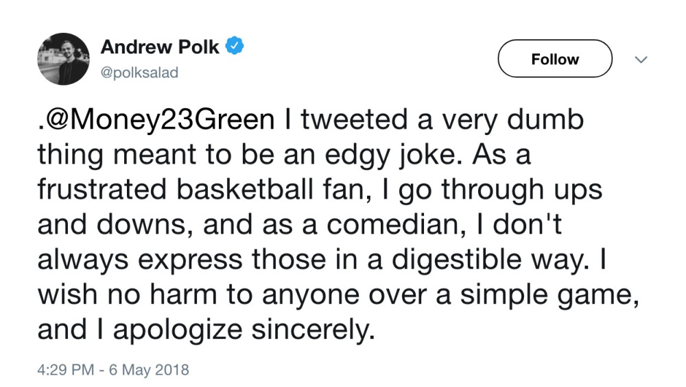 A tweet from comedian Andrew Polk.