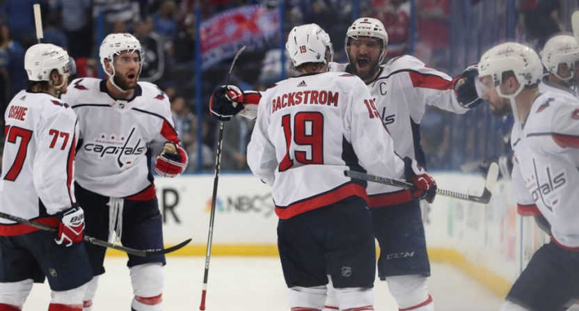 The Washington Capitals celebrating their advancement to the Stanley Cup Final.