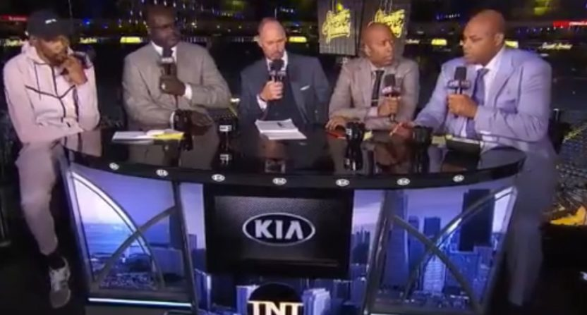 Kevin Durant on the NBA on TNT set with Charles Barkley and the crew. Barkley asked if Draymond Green is annoying, and Durant said to go talk to him.