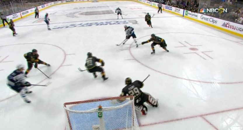 Vegas Golden Knights' goalie Marc-André Fleury made an incredible diving stop on Mark Scheifele Wednesday.