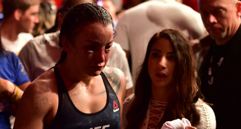 Raquel Pennington after her loss to Amanda Nunes at UFC 224.