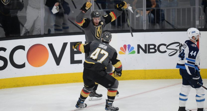 Reilly Smith celebrates his game-winning goal against Winnipeg Friday.