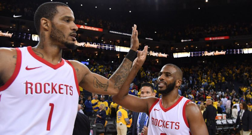 The Houston Rockets' Trevor Ariza and Chris Paul celebrate a Game 4 win Tuesday.
