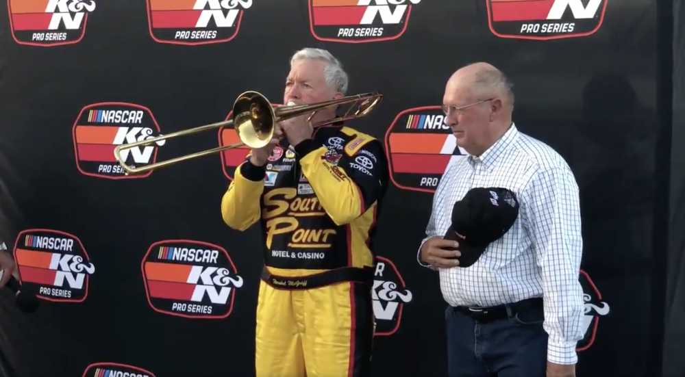 90-year-old Hershel McGriff becomes oldest NASCAR driver and played the national anthem on the ...