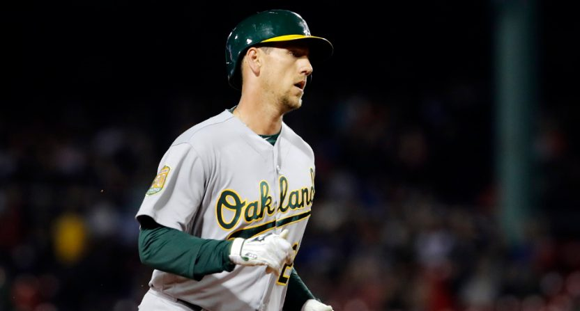 Stephen Piscotty hit a home run Tuesday, in his first at-bat following bereavement leave.