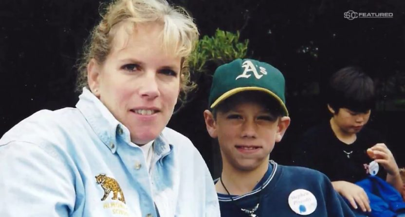 A young Stephen Piscotty with his mom Gretchen.
