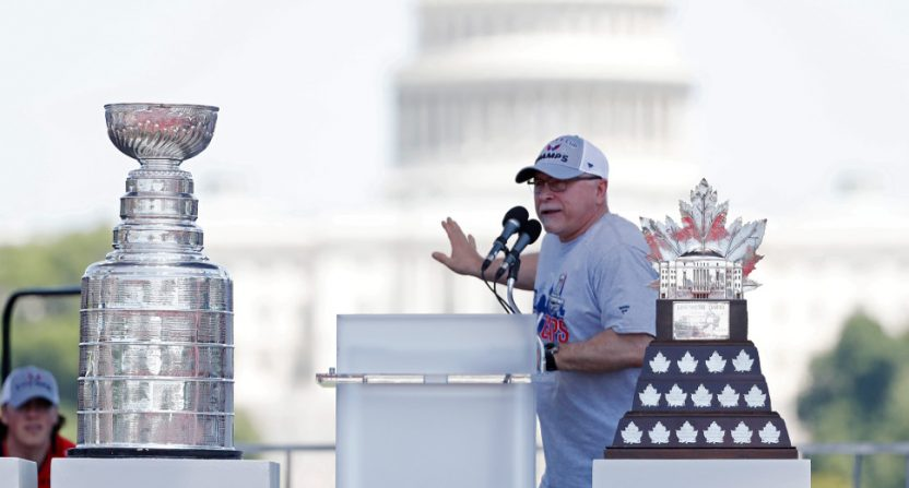 Barry Trotz during the Capitals' July 12 parade.