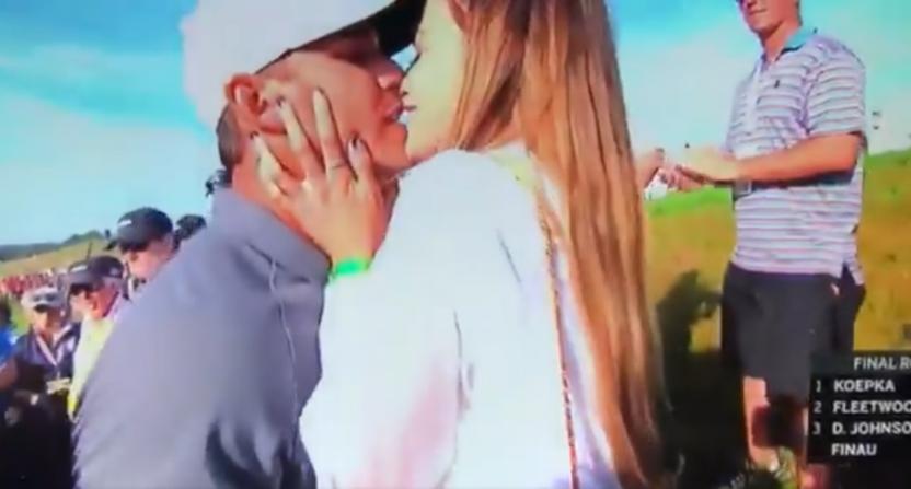 Jena Sims' celebratory kiss with Brooks Koepka wasn't misidentified by Joe Buck this time.