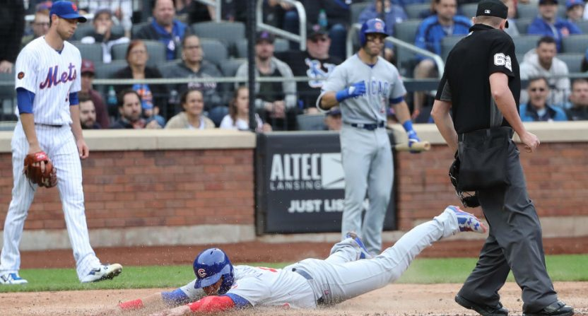 The Mets' seventh-inning missteps included letting Willson Contreras score on a short sacrifice fly to the second baseman.