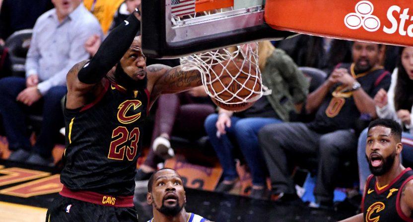 LeBron James throws down a Game 3 dunk.