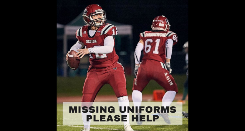 The Regina Riot put out an appeal asking for help finding their missing uniforms.