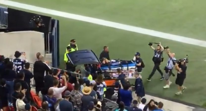 Ricky Ray carted off with a neck injury on June 23, 2018.