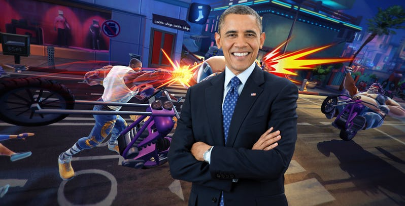 Shaq's new fighting game includes a Barack Obama-based DLC character.