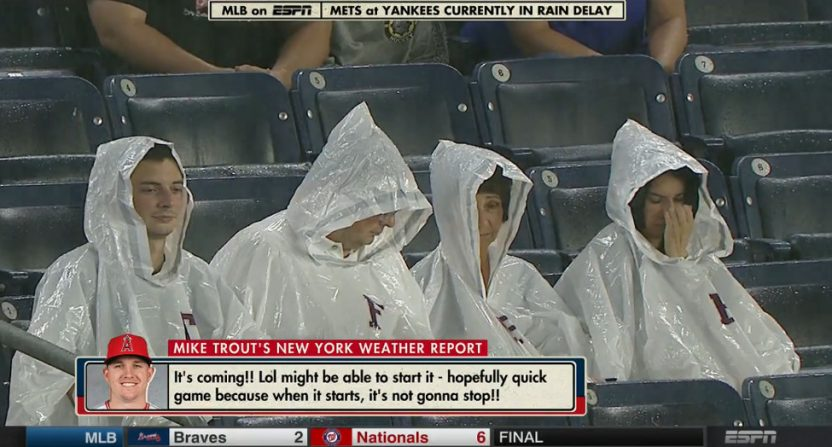 Mike Trout reporting on cross-continent weather.