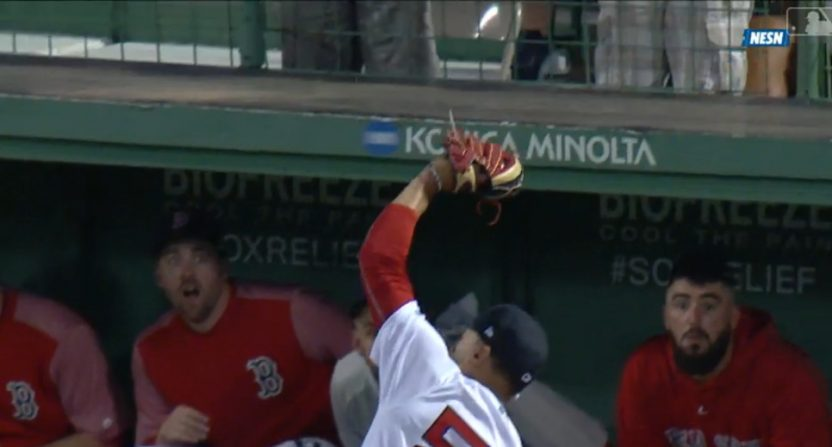 Mookie Betts made a great catch over the wall Tuesday.