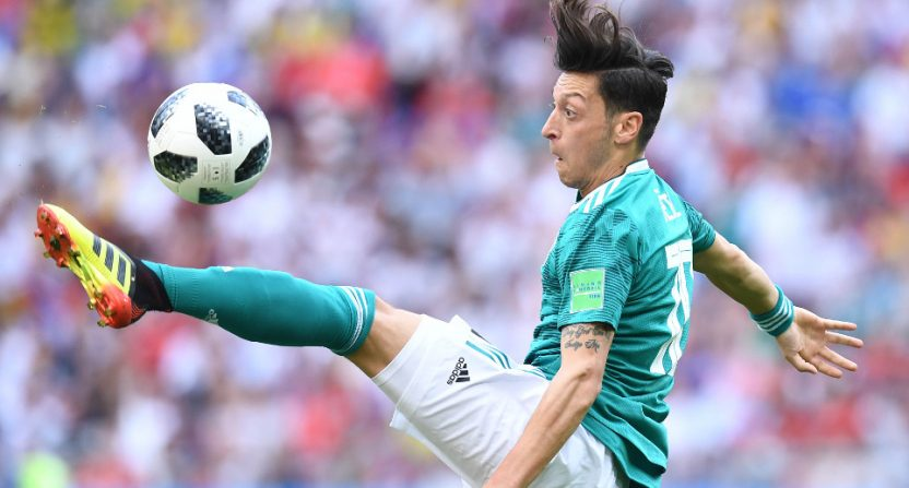 Mesut Özil playing for Germany against South Korea in the 2018 World Cup.