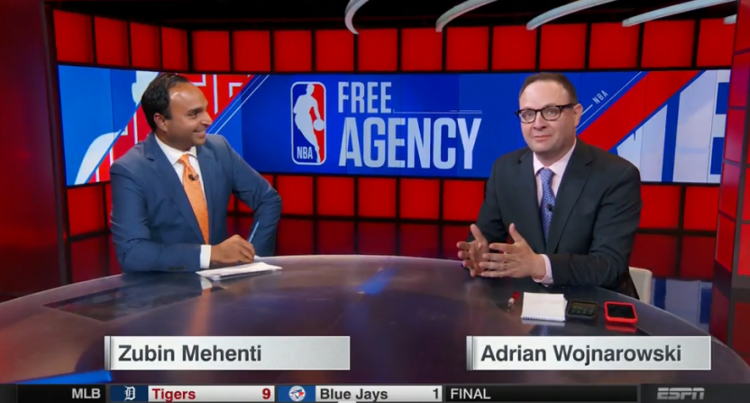 Zubin Mehenti and Adrian Wojnarowski discussing the LeBron news.
