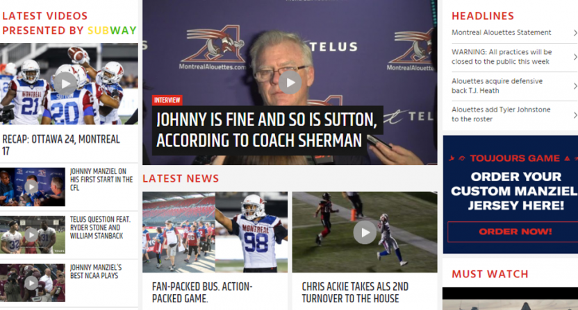 The Alouettes' website on Manziel.