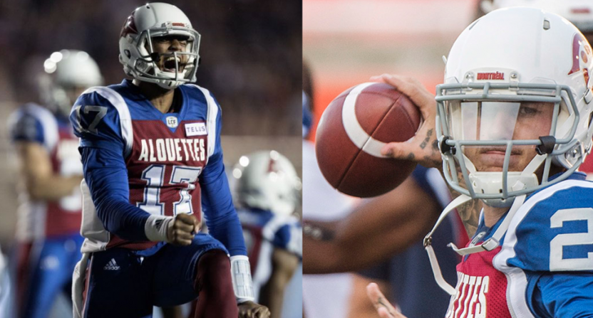 Antonio Pipkin (L) has replaced Johnny Manziel (R) as the Montreal Alouettes' starting QB.