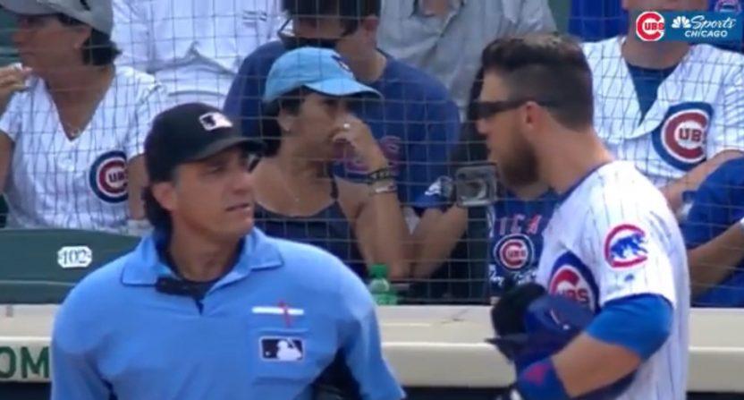 Ben Zobrist arguing with umpire Phil Cuzzi.
