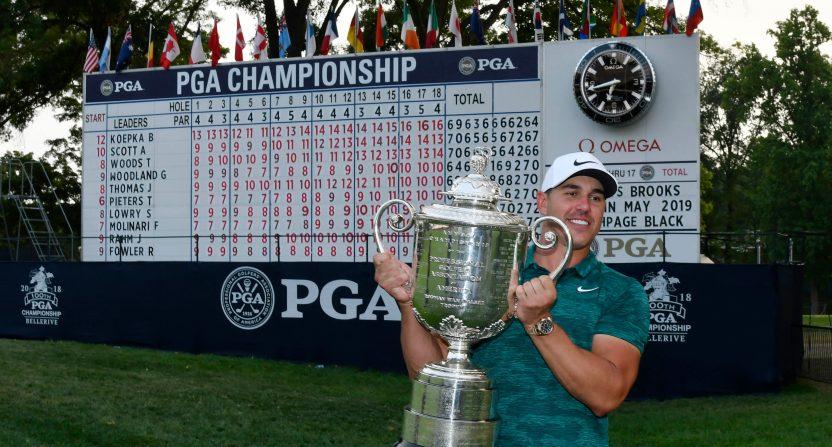 Brooks Koepka after winning the 2018 PGA Championship.