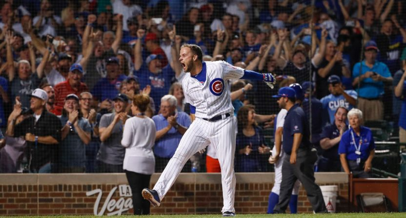 David Bote celebrating his grand slam.