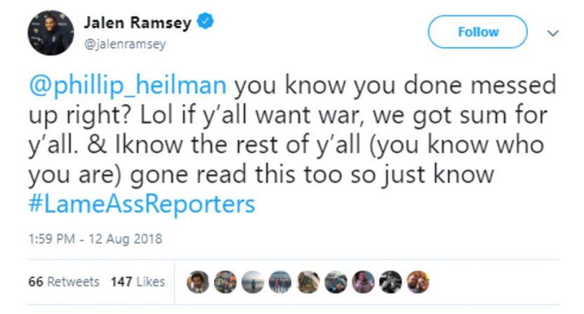 Jalen Ramsey's tweet at local reporter Phillip Heilman.