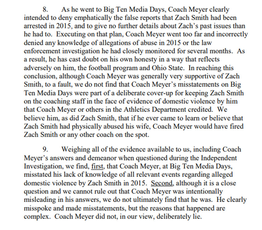 "The Ohio State report's finding that Urban Meyer didn't ""deliberately lie."""