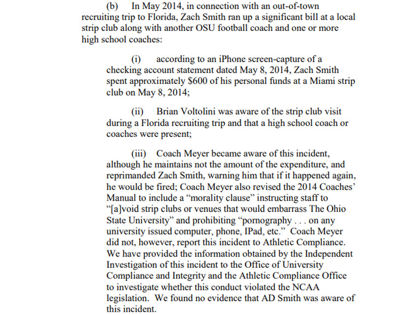 The OSU report on Zach Smith at a strip club.