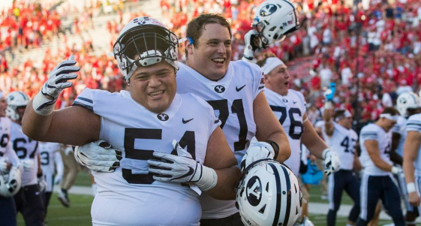BYU celebrating a win over Wisconsin.