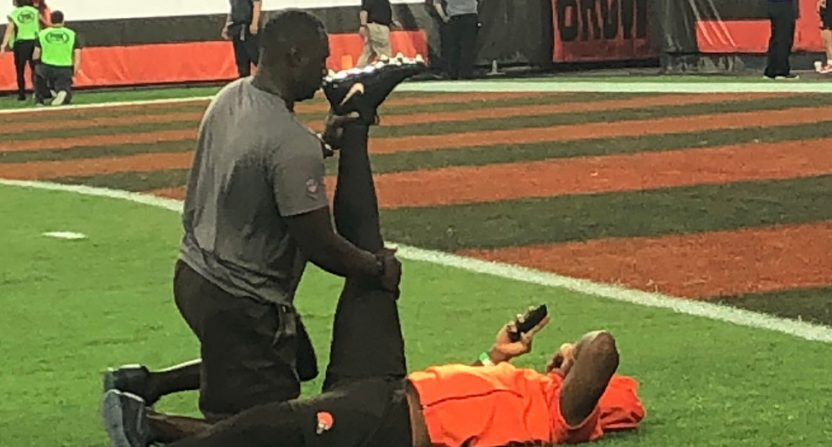 Carlos Hyde stretching.