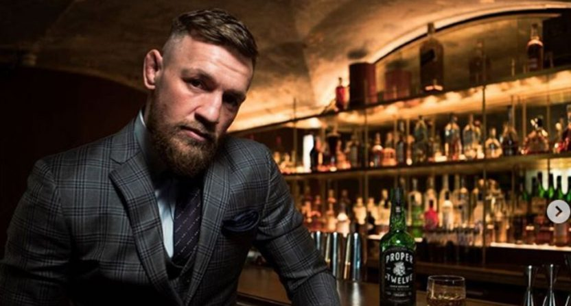 Conor McGregor with his whiskey.