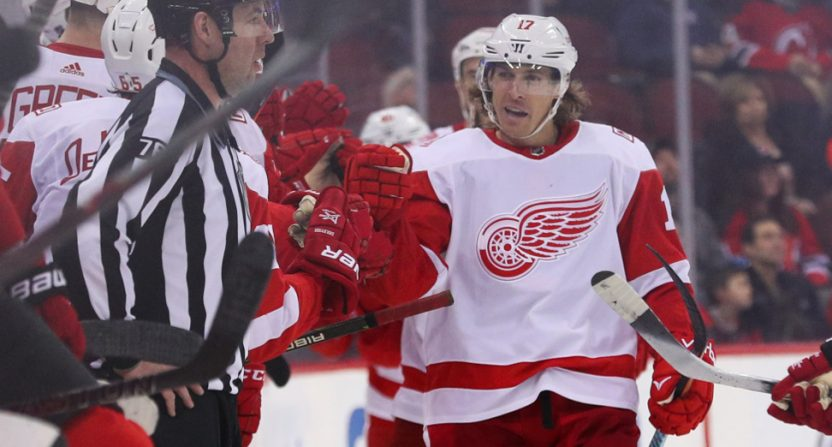 David Booth with the Red Wings in January 2018.