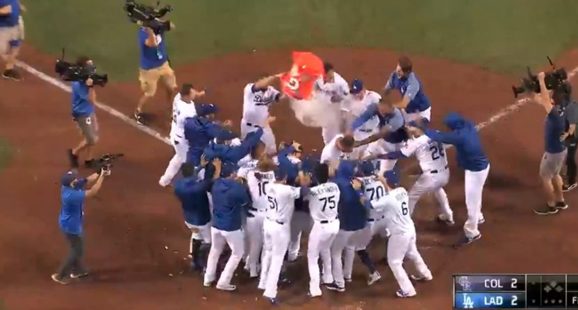 This Gatorade shower didn't work out for the Dodgers.