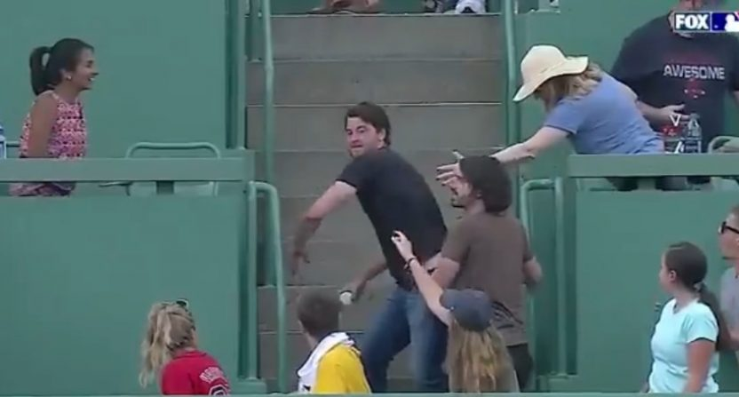 A fan at Fenway Park did an impressive home run throwback Saturday.
