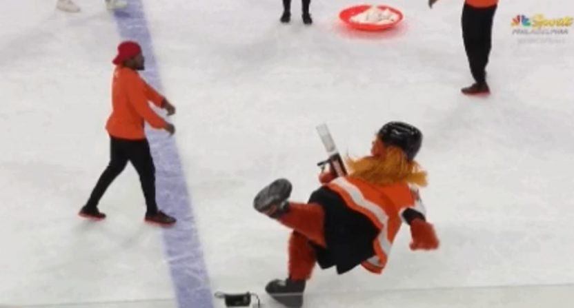 New Philadelphia Flyers  mascot Gritty took a faceplant in his on ... 2bf549d7c