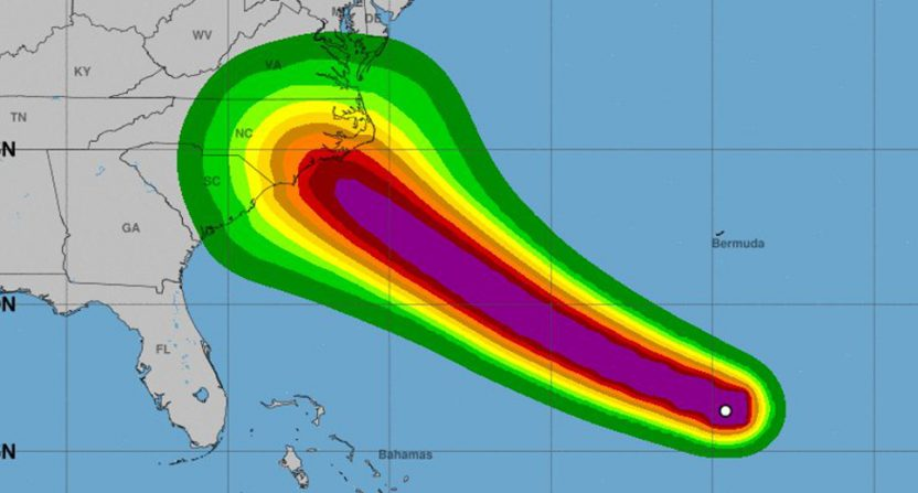 Hurricane Florence's projected path.