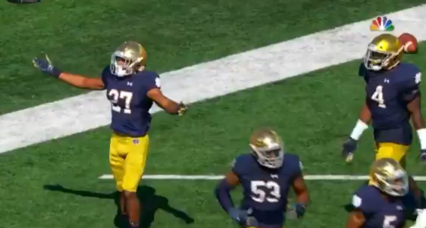 Vanderbilt's fumble turned into this Notre Dame recovery for a touchback.