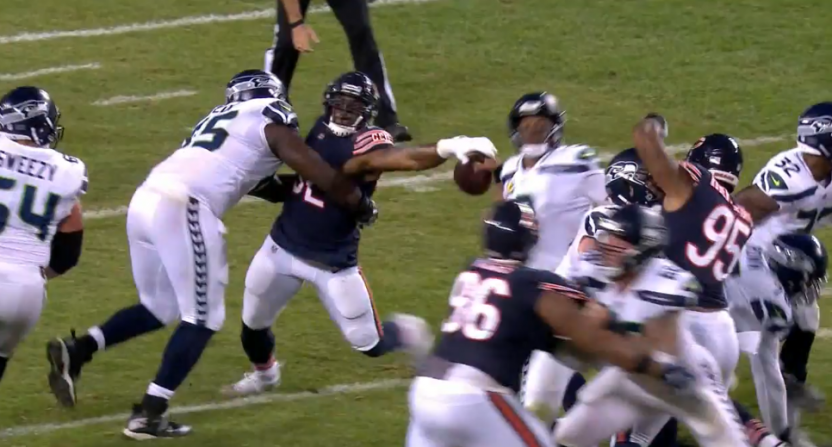 Khalil Mack with a strip-sack against the Seahawks.
