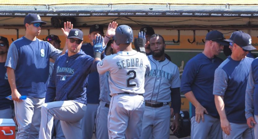 The Mariners' dugout against the A's on Sept. 2.