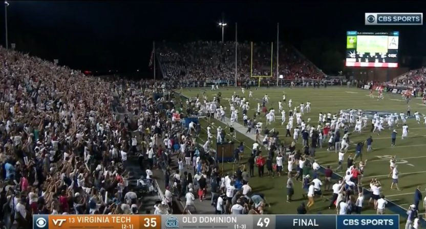 Old Dominion students celebrate a win over No. 13 Virginia Tech.