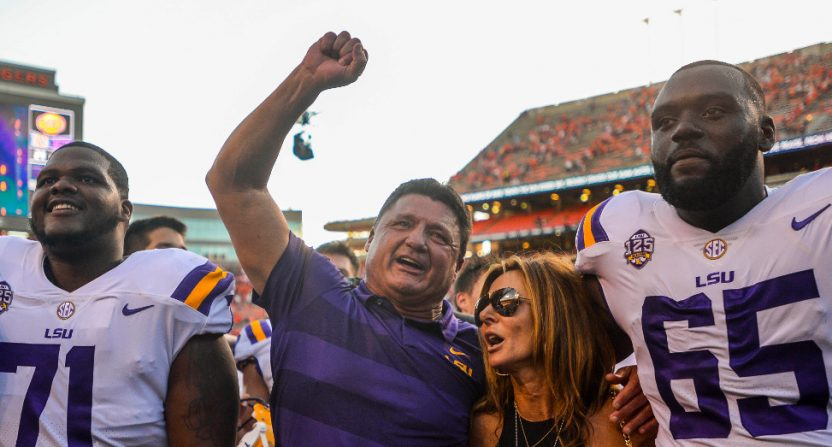 Ed Orgeron after LSU beat Auburn.