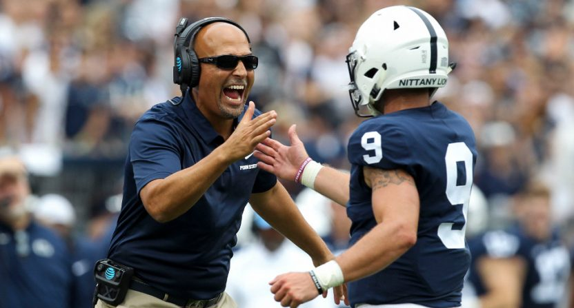 Penn State HC James Franklin and QB Trace McSorley celebrate a TD against Appalachian State.