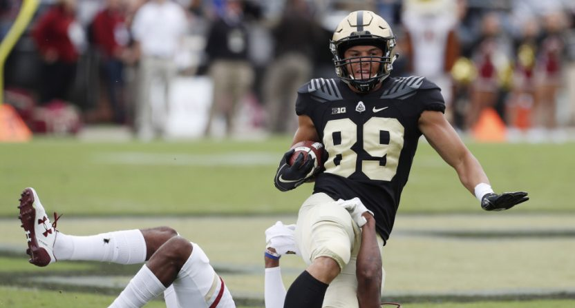 Purdue TE Brycen Hopkins against Boston College DB Lukas Denis.
