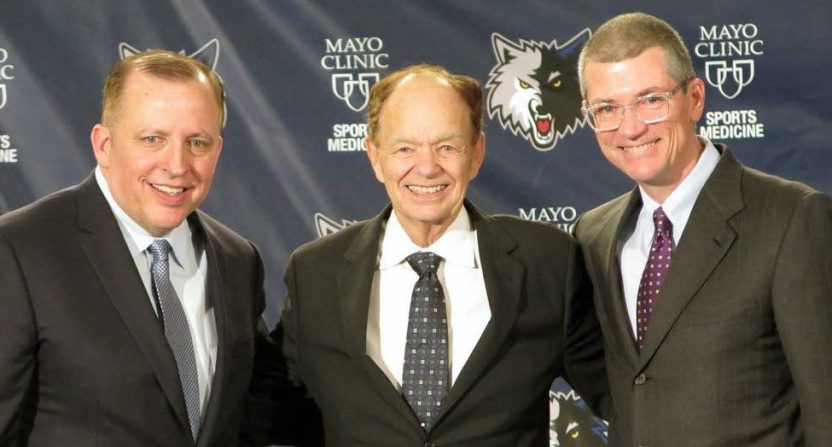 The Timberwolves' Tom Thibodeau, Glen Taylor and Scott Layden (L to R).