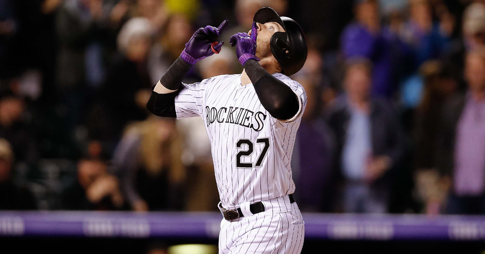 trevor story hits home run in statcast history