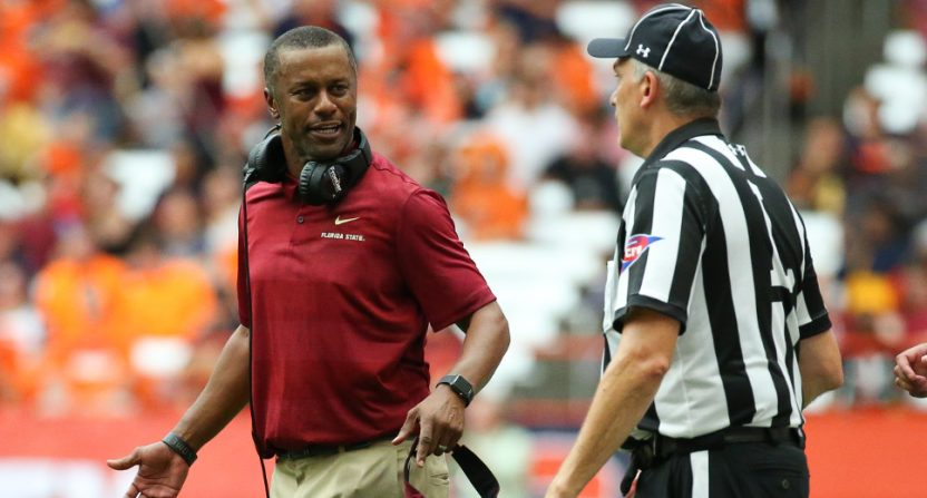 Willie Taggart coaching against Syracuse.
