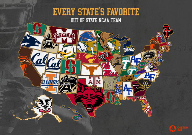 Study shows every state's favorite out-of-state NFL team ... on map of all the countries, map of all major league baseball teams, map of all mls teams, map of all college teams, map of all the nba, map of all nhl teams, map of all the rivers, map of all the us presidents, map of all the oceans, map of all the states, map of all mlb teams, map of all sports teams, map of all football teams, map of all cfl teams,