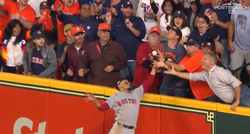 The alleged fan interference in Game 4 of the Red Sox-Astros series.