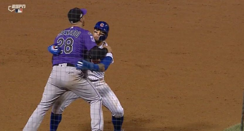 Javier Baez with the controversial hug.